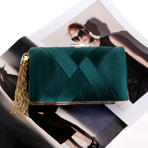 Elegant Evening Clutch Bag with Tassel Detail - Rectangle - Green - Flat in context