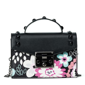 Cute Shoulder Bag with Floral Print and Chain Strap - Black