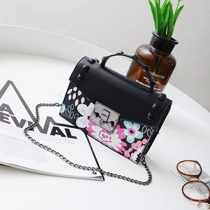 Cute Shoulder Bag with Floral Print and Chain Strap  - side