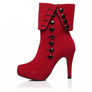 High Heel Boots, Button-up Detail - Red