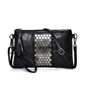 Sexy Genuine Leather Shoulder Bag with Diamond Effect Middle