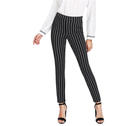 Mid Waist Skinny Pencil Pants - Black Vertical Stripes