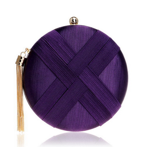 Elegant Evening Clutch Bag with Tassel Detail - Round - Purple