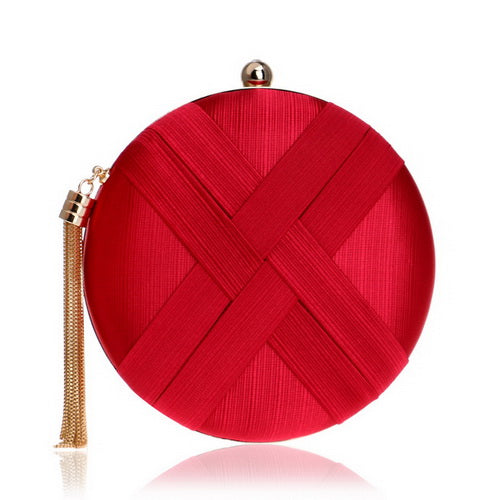 Elegant Evening Clutch Bag with Tassel Detail - Round - Red