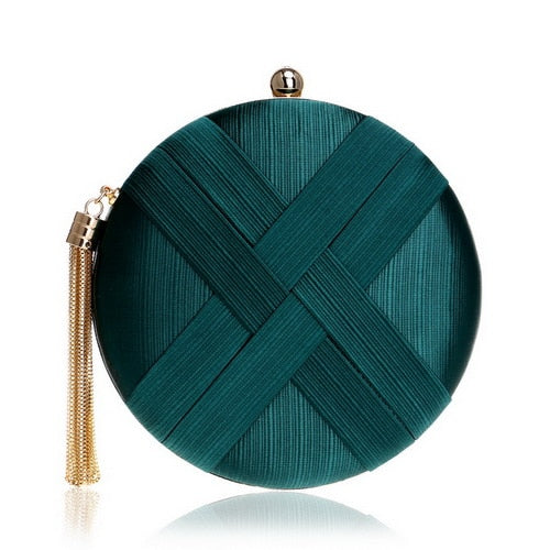 Elegant Evening Clutch Bag with Tassel Detail - Round - Green