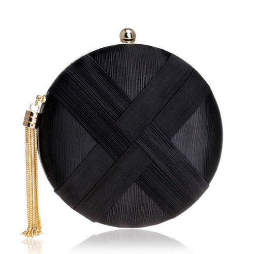 Elegant Evening Clutch Bag with Tassel Detail - Round - Black