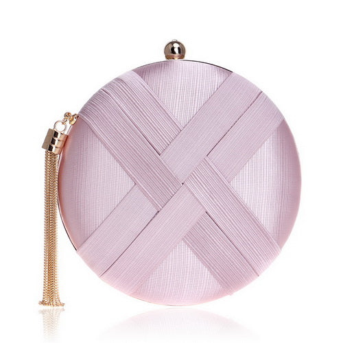 Elegant Evening Clutch Bag with Tassel Detail - Round - Pink
