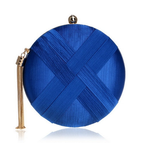 Elegant Evening Clutch Bag with Tassel Detail - Round - Blue