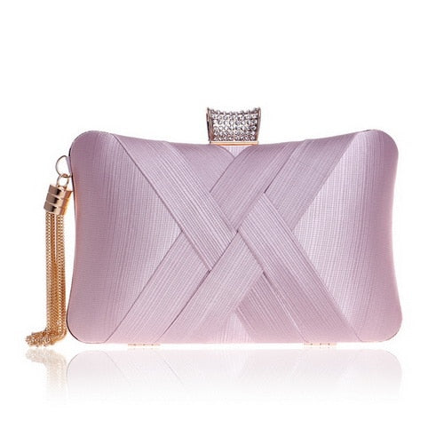 Elegant Evening Clutch Bag with Tassel Detail - Rectangle Diamante Closure - Pink