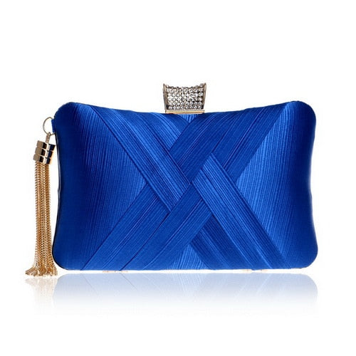 Elegant Evening Clutch Bag with Tassel Detail - Rectangle Diamante Closure - Blue