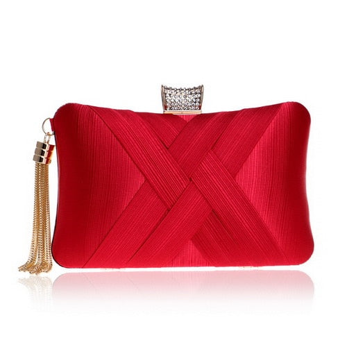 Elegant Evening Clutch Bag with Tassel Detail - Rectangle Diamante Closure - Red