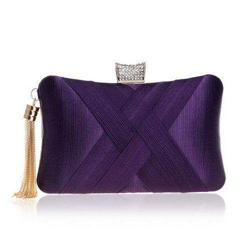 Elegant Evening Clutch Bag with Tassel Detail - Rectangle Diamante Closure - Purple