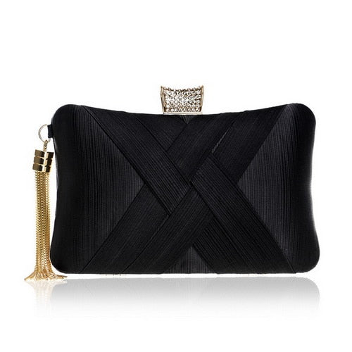 Elegant Evening Clutch Bag with Tassel Detail - Rectangle Diamante Closure - Black