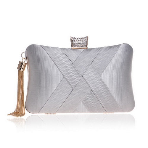 Elegant Evening Clutch Bag with Tassel Detail - Rectangle Diamante Closure - Silver