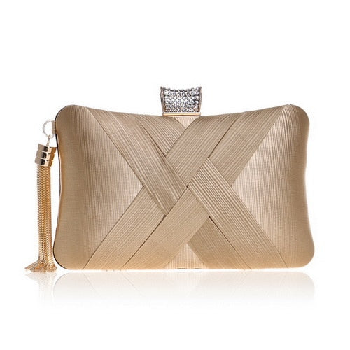 Elegant Evening Clutch Bag with Tassel Detail - Rectangle Diamante Closure - Gold