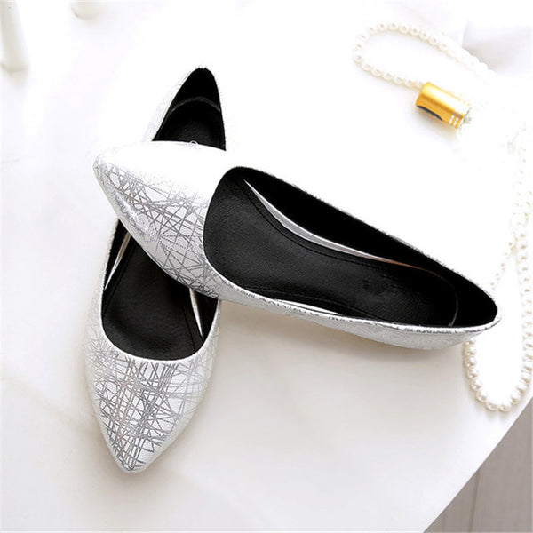 Women's Casual Pointed Toe Flats - White - both