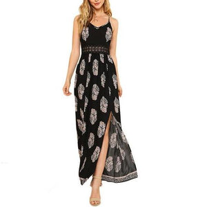 Black Empire Line V-Neck Tribal Print Maxi Dress with Spaghetti Straps and Slit