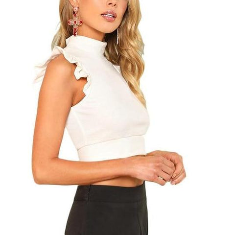 Sexy Cute White Rib Knit Crop Top with Stand Collar