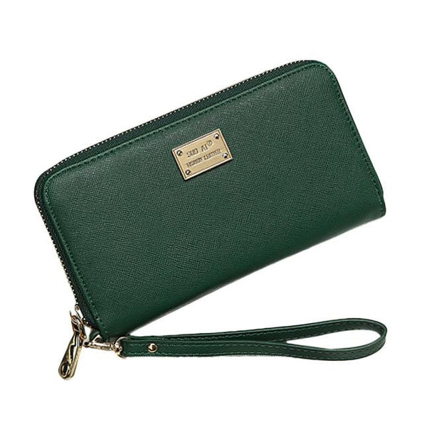Large Ladies Wristlet Wallet - Green