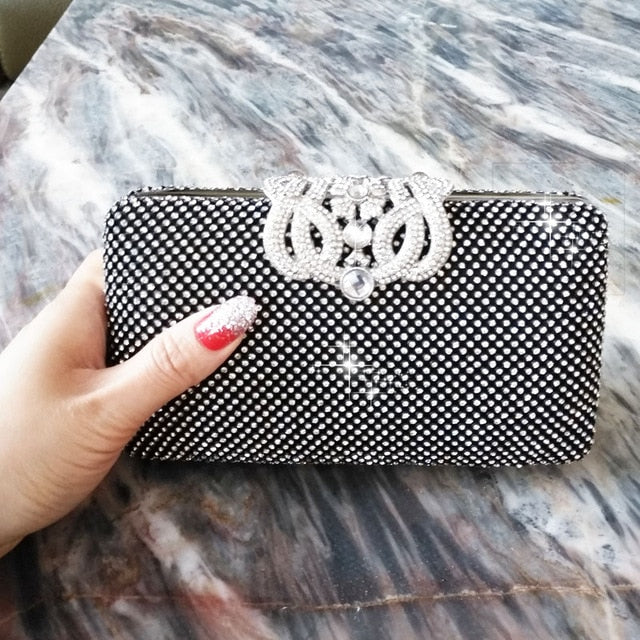 Lovely Evening Clutch Bag with Rhinestone Metal Crown Closure - Black