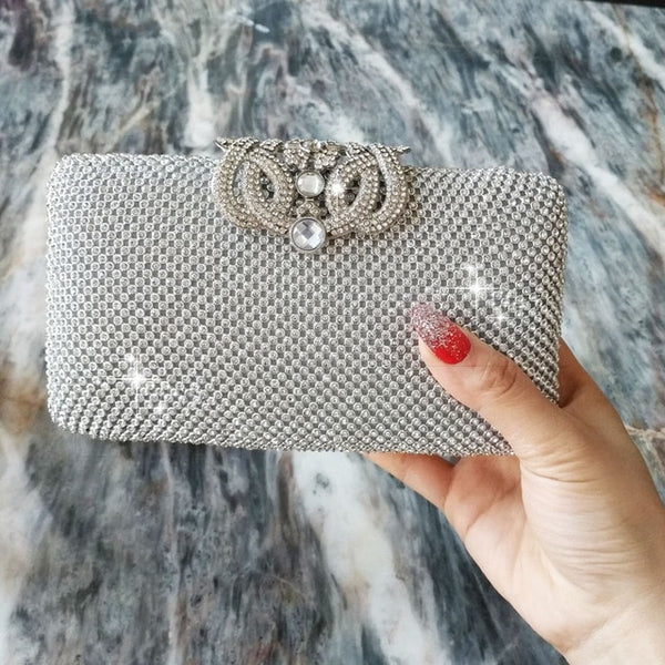 Lovely Evening Clutch Bag with Rhinestone Metal Crown Closure - Silver