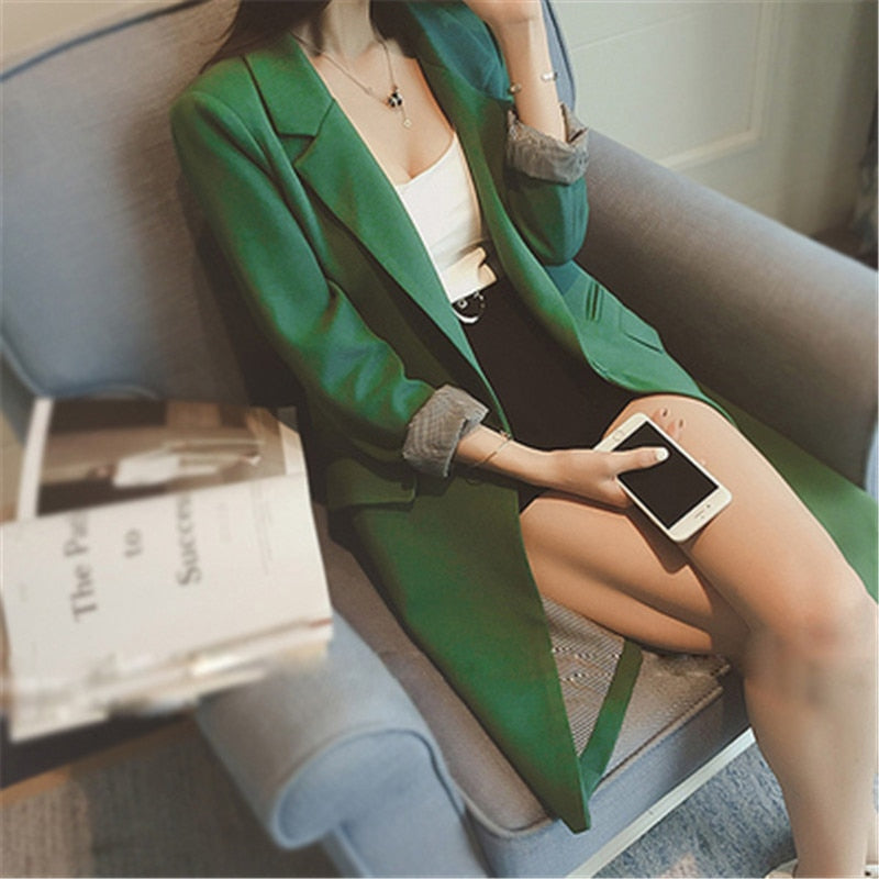 Single Button Long Blazer - Green