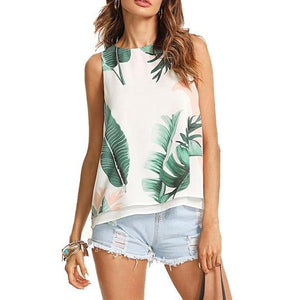 Casual Boho Multicolor Tank Top with Tropical Print