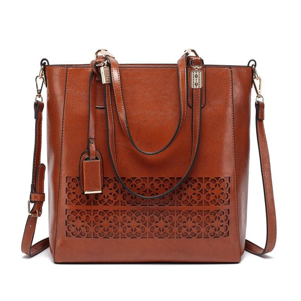 Large Shoulder Bag with Hollow Out Design Detail - Brown - Side view
