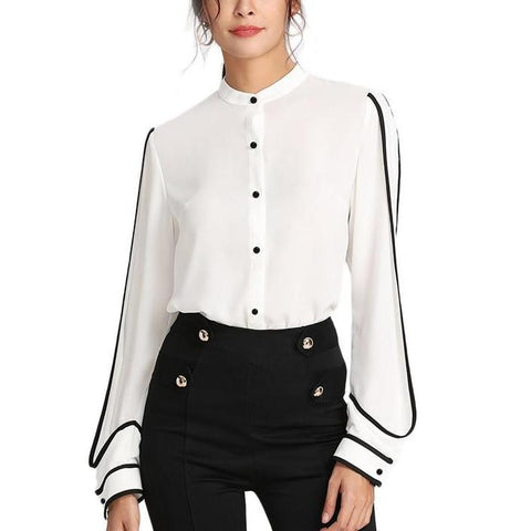 Elegant White Long Sleeve Blouse with Stand Collar and Black Stripe Contrast Detail