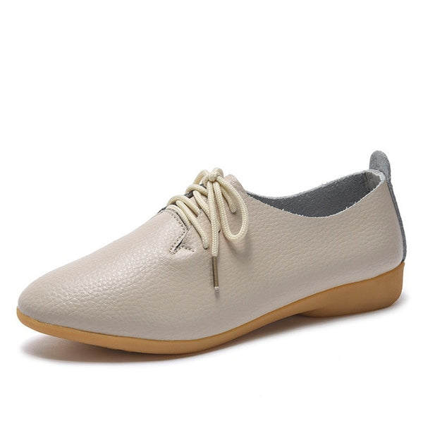 Women's Lace-up Casual Flats - beige