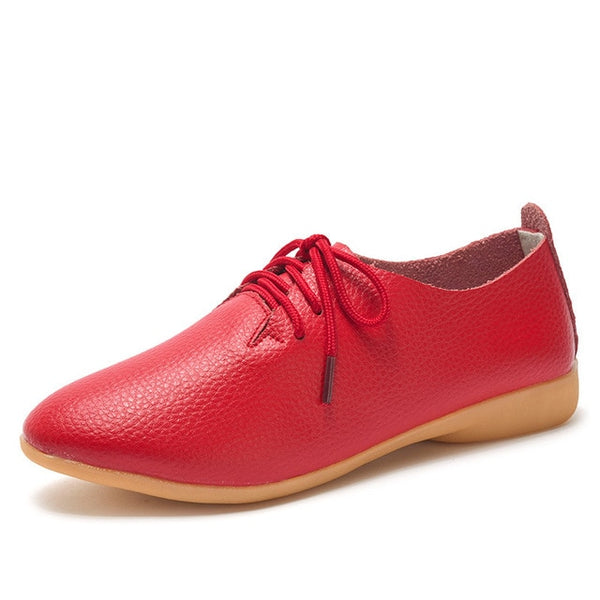 Women's Lace-up Casual Flats - red
