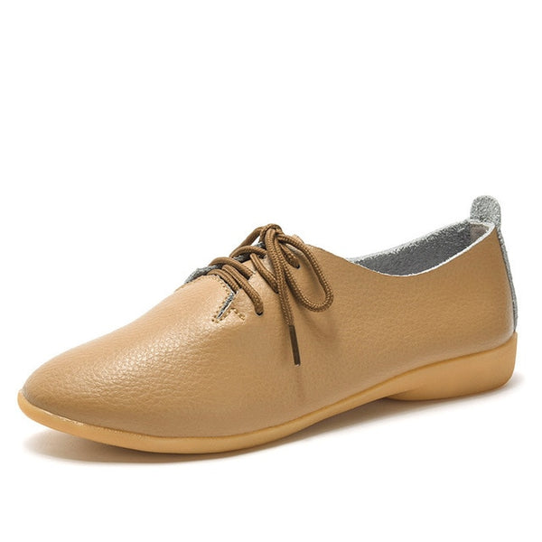 Women's Lace-up Casual Flats - Khaki