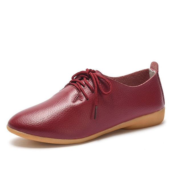 Women's Lace-up Casual Flats - Wine red