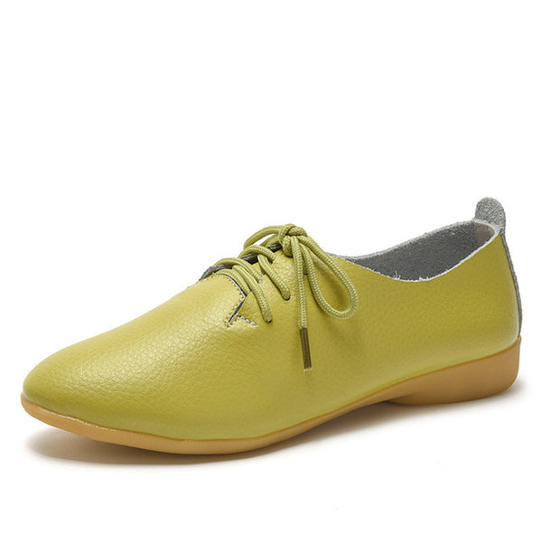 Women's Lace-up Casual Flats - Fruit green