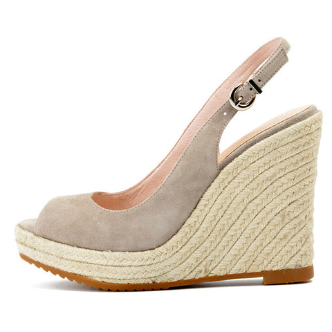 Open Toe Sling Back Wedges - sand