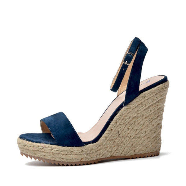 Genuine Leather Ankle Strap Wedges - Blue
