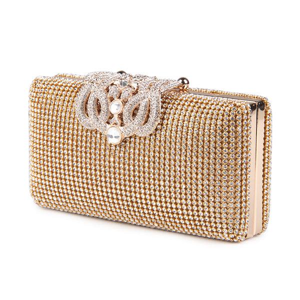 Lovely Evening Clutch Bag with Rhinestone Metal Crown Closure - Side
