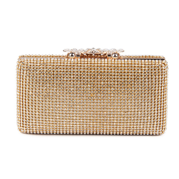 Lovely Evening Clutch Bag with Rhinestone Metal Crown Closure - Gold - Back