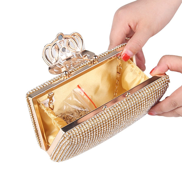 Lovely Evening Clutch Bag with Rhinestone Metal Crown Closure - Gold - Open