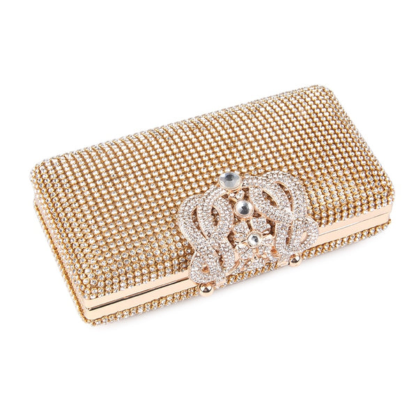 Lovely Evening Clutch Bag with Rhinestone Metal Crown Closure - Flat