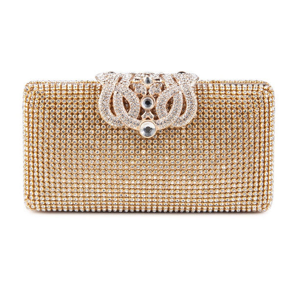 Lovely Evening Clutch Bag with Rhinestone Metal Crown Closure - Gold