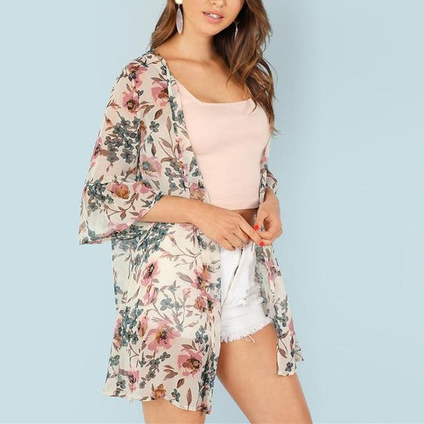 Multicolor Light Long Kimono-Style Throw with Flower Print - Side