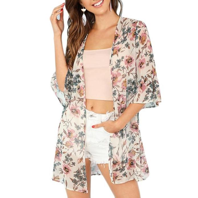 Multicolor Light Long Kimono-Style Throw with Flower Print