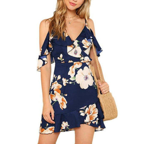 Spaghetti Strap Ruffle Mini Dress - Navy Blue, Floral Print