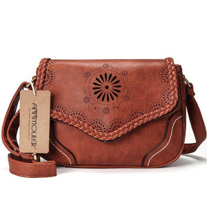 Vintage Boho Crossbody Shoulder Bag - Brown