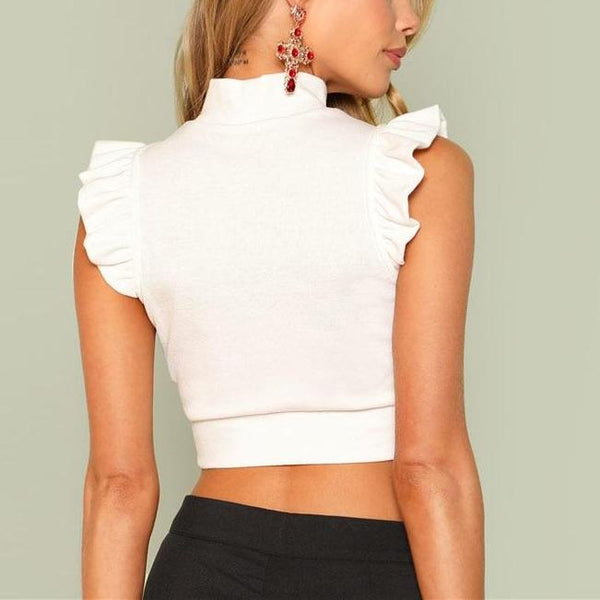 Sexy Cute White Rib Knit Crop Top with Stand Collar - Back