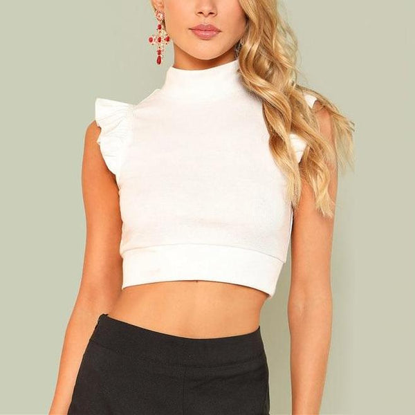 Sexy Cute White Rib Knit Crop Top with Stand Collar - Front