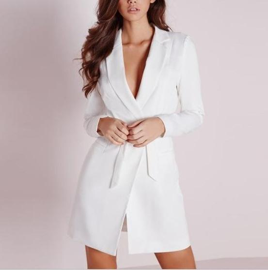 Belted Long Coat, Blazer - White
