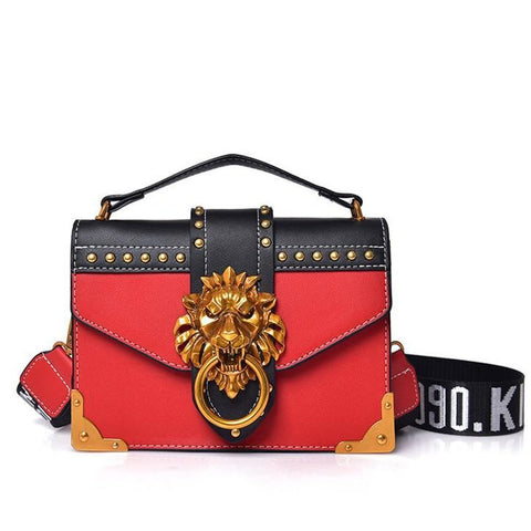 Luxury Handbag with Lion Head Design Detail - Red