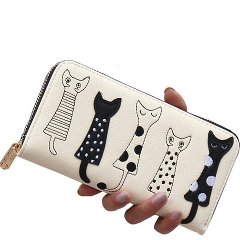 Long Faux Leather Wallet with Cute Abstract Cartoon Cat Design - Off-White